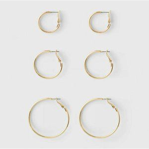 Goldtone Hoop Earring Set 3ct - A New Day
